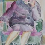 Sitzende Frau im lila Kostüm, 1926, Aquarell, 34 x 48,5 cm
