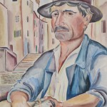 Fischer mit blauer Jacke und Fisch, 1929, Aquarell, 50 x 65 cm