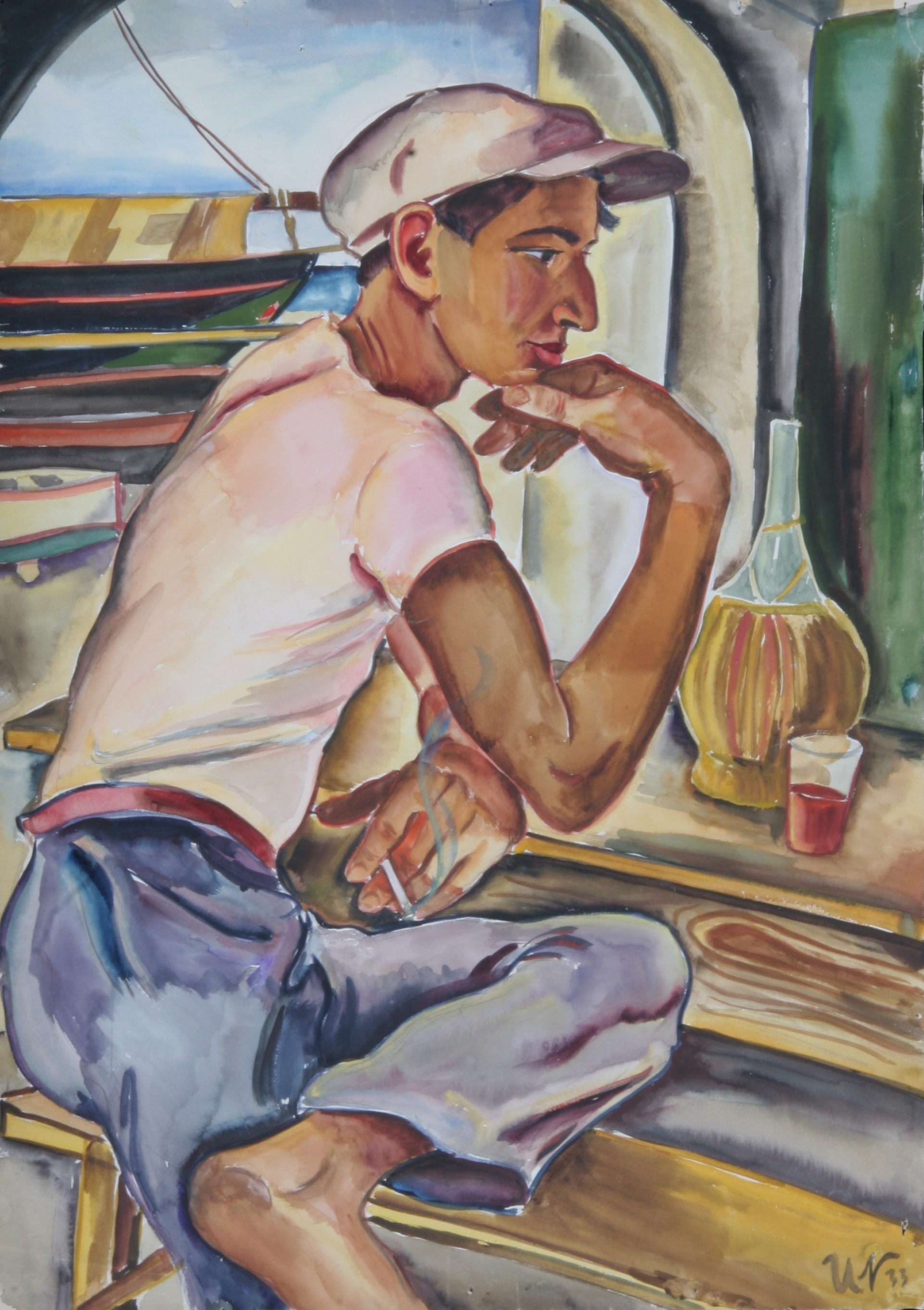 Junger Fischer im Pescatore, Sant' Angelo 1933, Aquarell, 53 x 74 cm