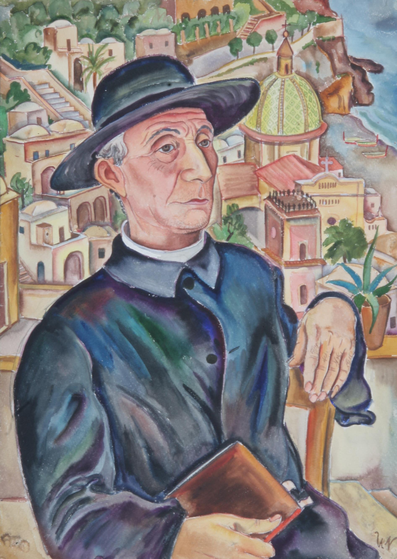 Don Beppo in Positano, 1935, Aquarell, 48 x 67 cm