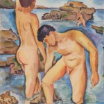 Zwei Jünglinge beim Baden im Meer, 1935, Aquarell, 49 x 61 cm