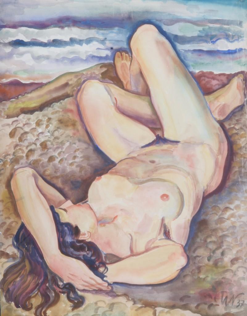 Akt am Strand, Charlotte, 1937, Aquarell, 55 x 70 cm