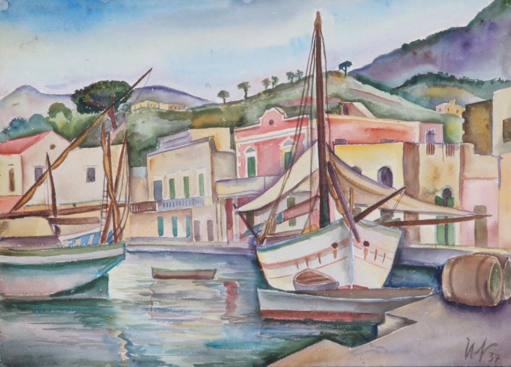 Am Hafen auf Ischia, 1937, Aquarell, 66 x 48 cm