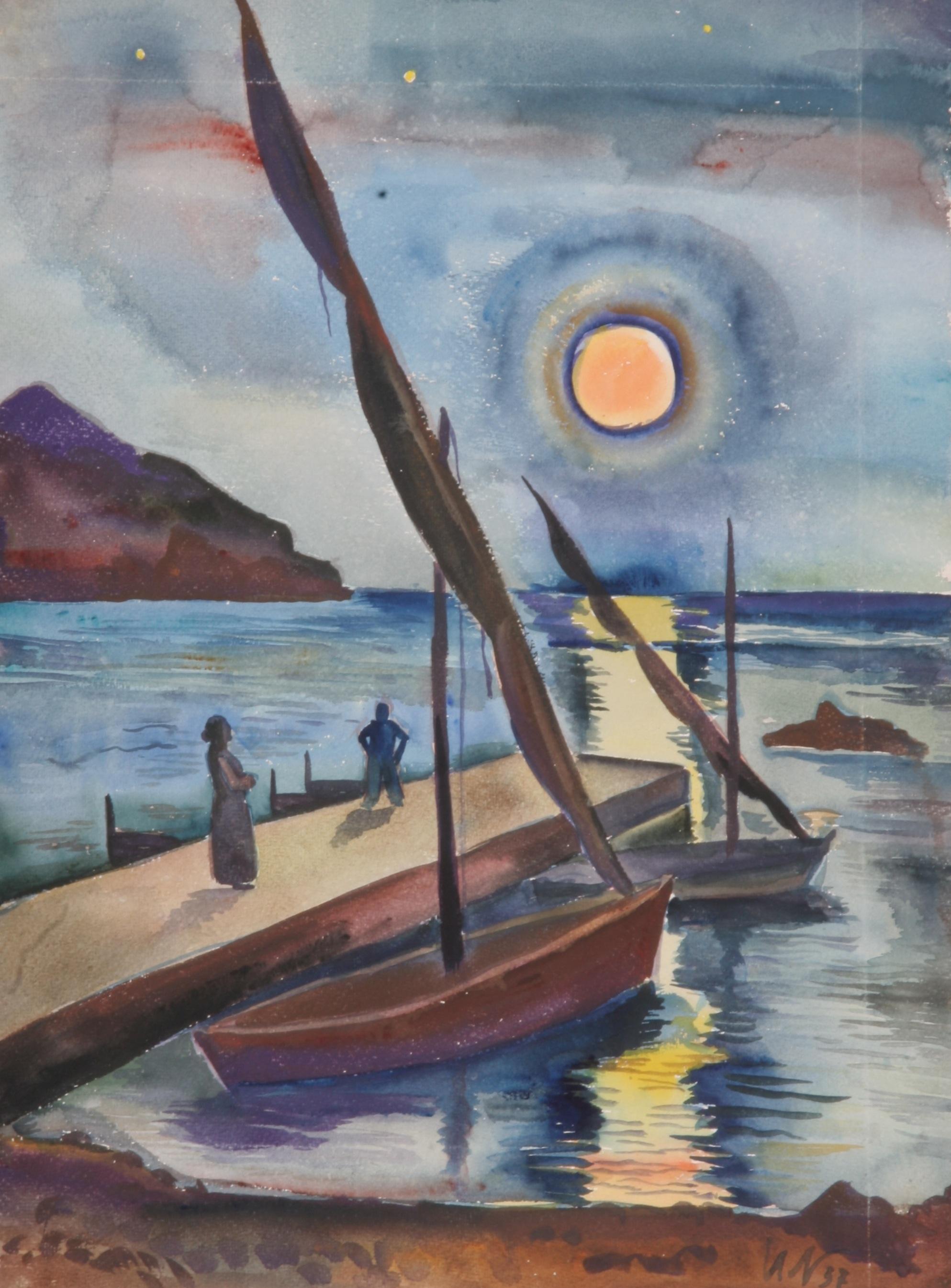 Mondaufgang in Sant' Angelo, 1937, Aquarell, 49 x 67 cm