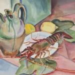 Stillleben mit Languste, 1936, Aquarell, 66 x 48 cm