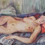 Schlafende Charlotte auf rotem Kissen, 1939, Aquarell, 70 x 50 cm