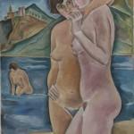Freundinnen beim Baden, 1928, Öl auf Karton, 62 x 89 cm