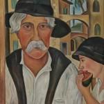 Mann mit Kind, Hut und Melone, 1929, Öl auf Karton, 48 x 68 cm gerahmt