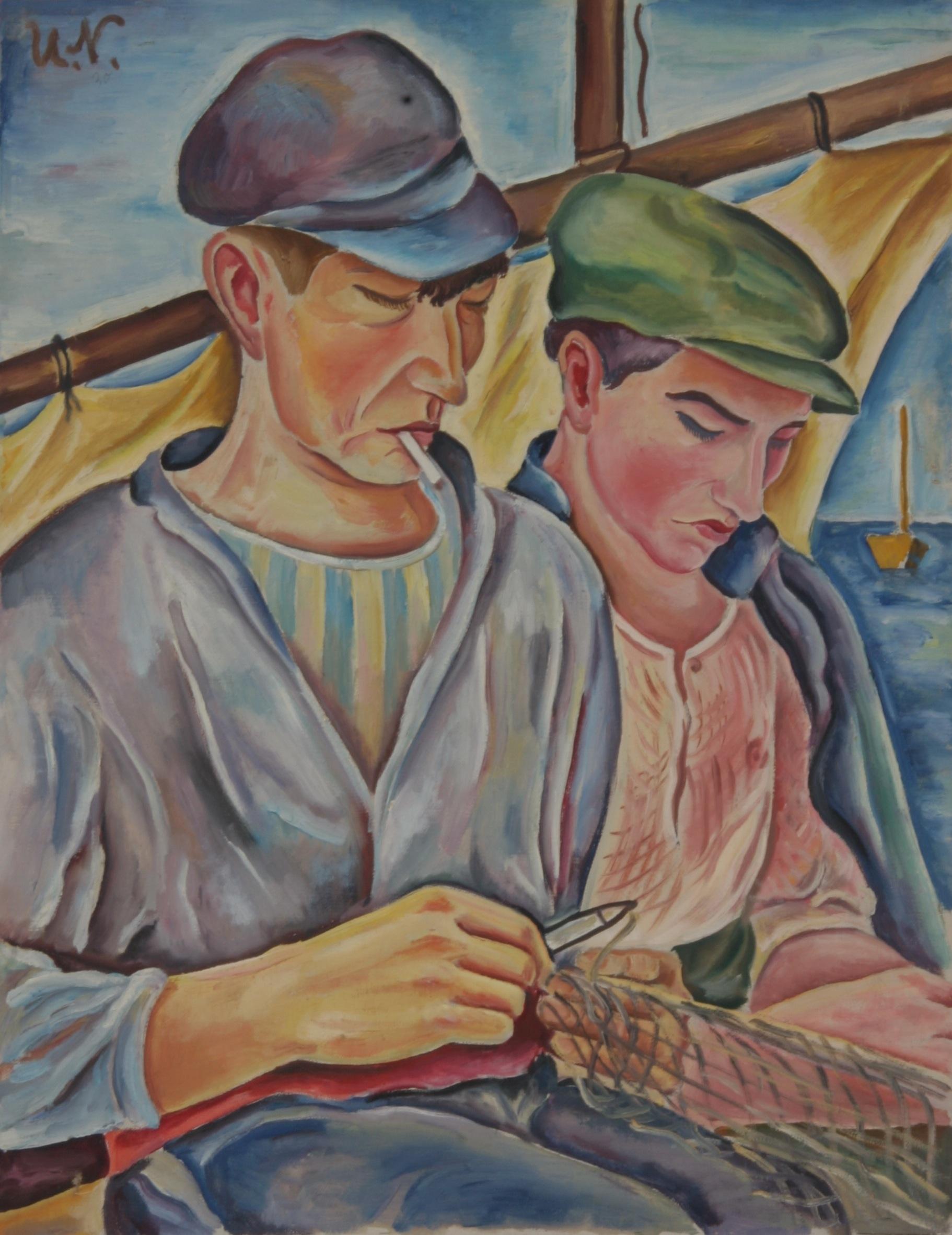 Zwei Fischer im Boot mit Netz, 1930, Öl auf Leinen, 50 x 65 cm