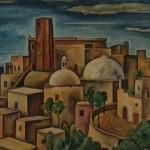 An der italienischen Küste, Ort mit Turm, 1933, Öl auf Karton, 59 x 47 cm