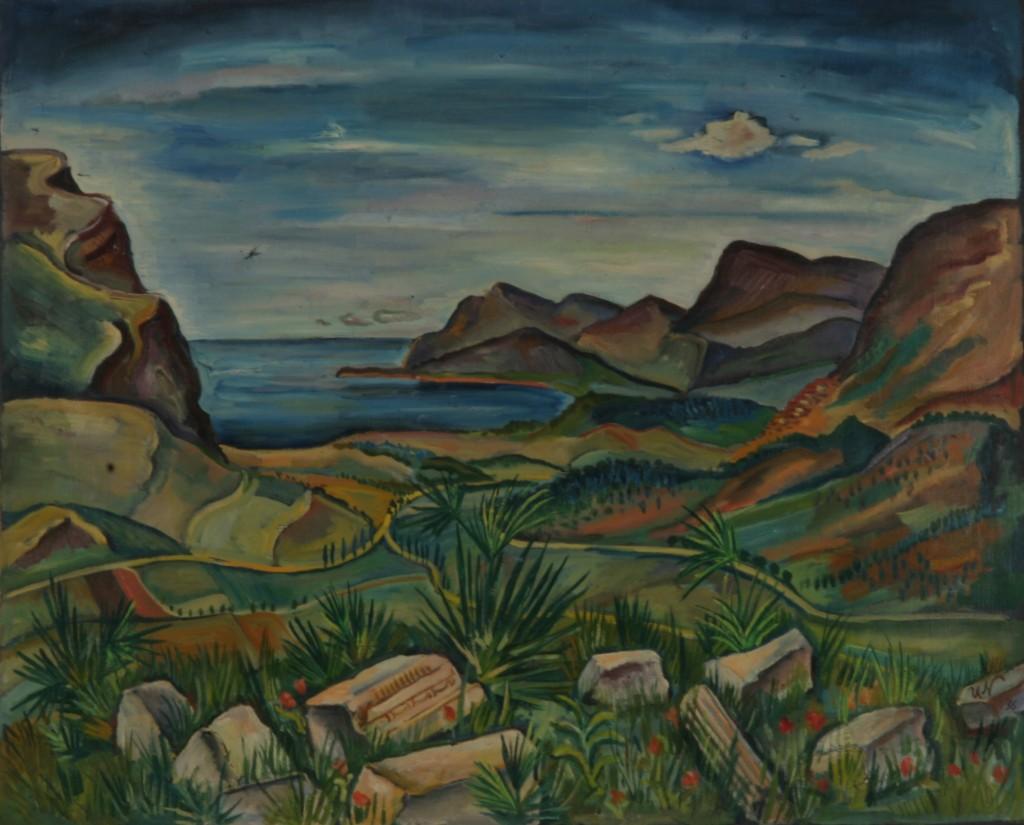 Südliche Küstenlandschaft, 1936, Öl auf Leinwand, 73 x 60 cm