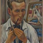 Selbstbildnis mit Pfeife vor Staffelei, 1937, Öl auf Leinwand, 49 x 66 cm