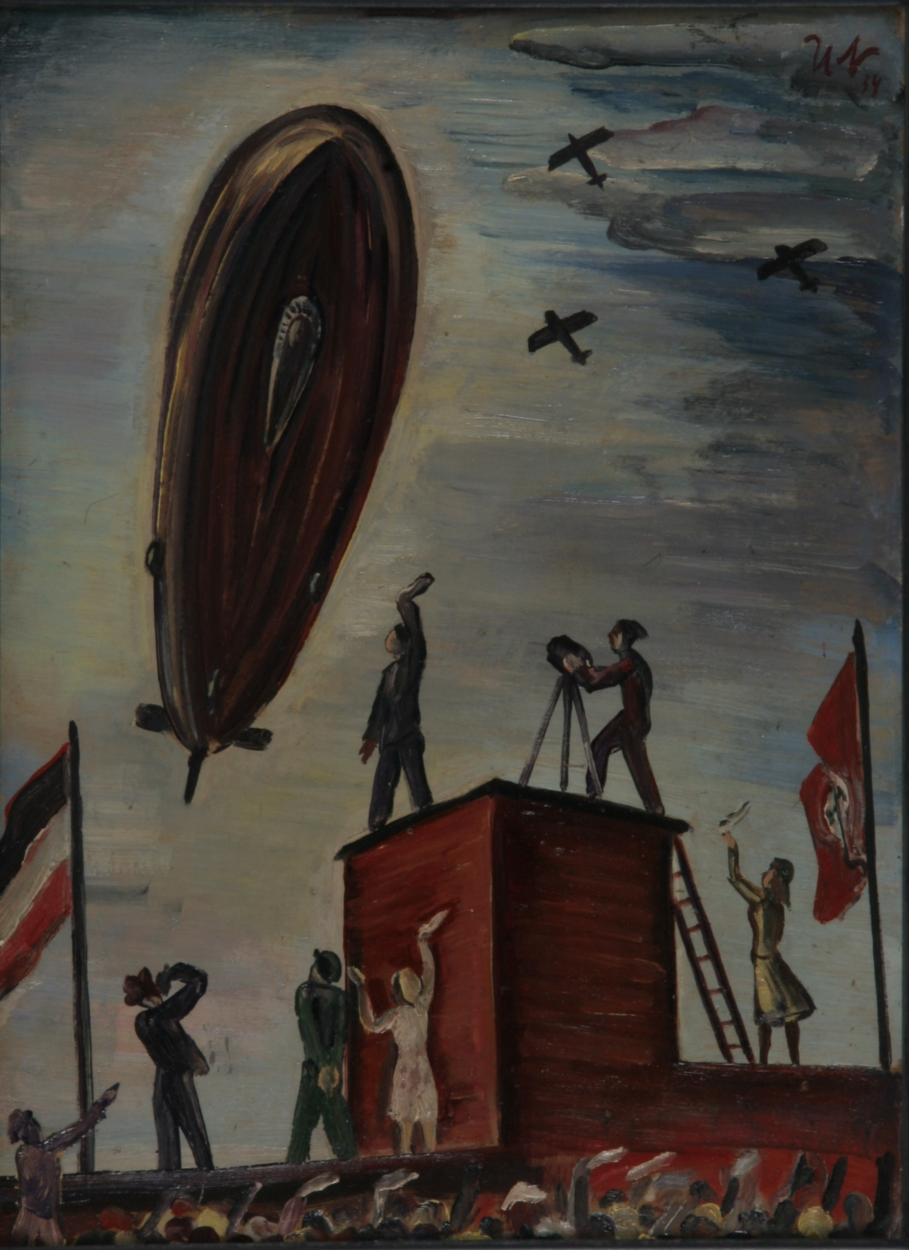 Flug des Zeppelin, 1934, 1934, Öl auf Karton, 31 x 34 cm gerahmt