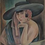 Sita Pagel mit Hut, 1937, Aquarell, 58 x 72 cm