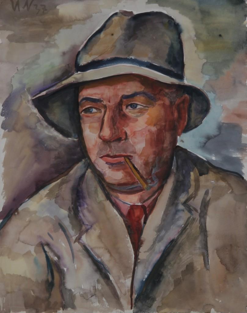 Mann mit Hut, 1937, Aquarell, 48 x 60 cm