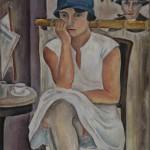 Im Café, 1928, Öl auf Malpappe, 40 x 34 cm