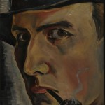 Selbstbildnis mit Hut und Pfeife, 1933, Öl auf Leinen, 20 x 27 cm