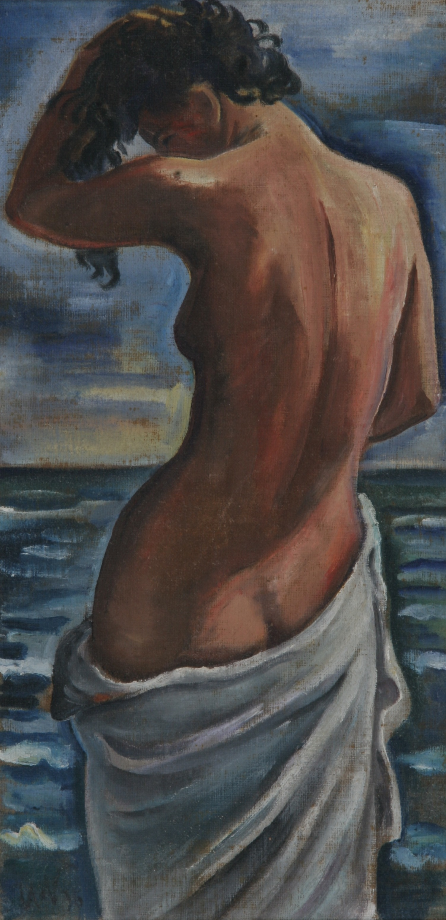 Rückenakt Charlotte, 1938, Öl auf Leinen, 24 x 47 cm