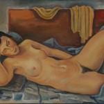 Liegender Akt auf blauem Tuch, 1935, Öl auf Karton, 66 x 48 cm