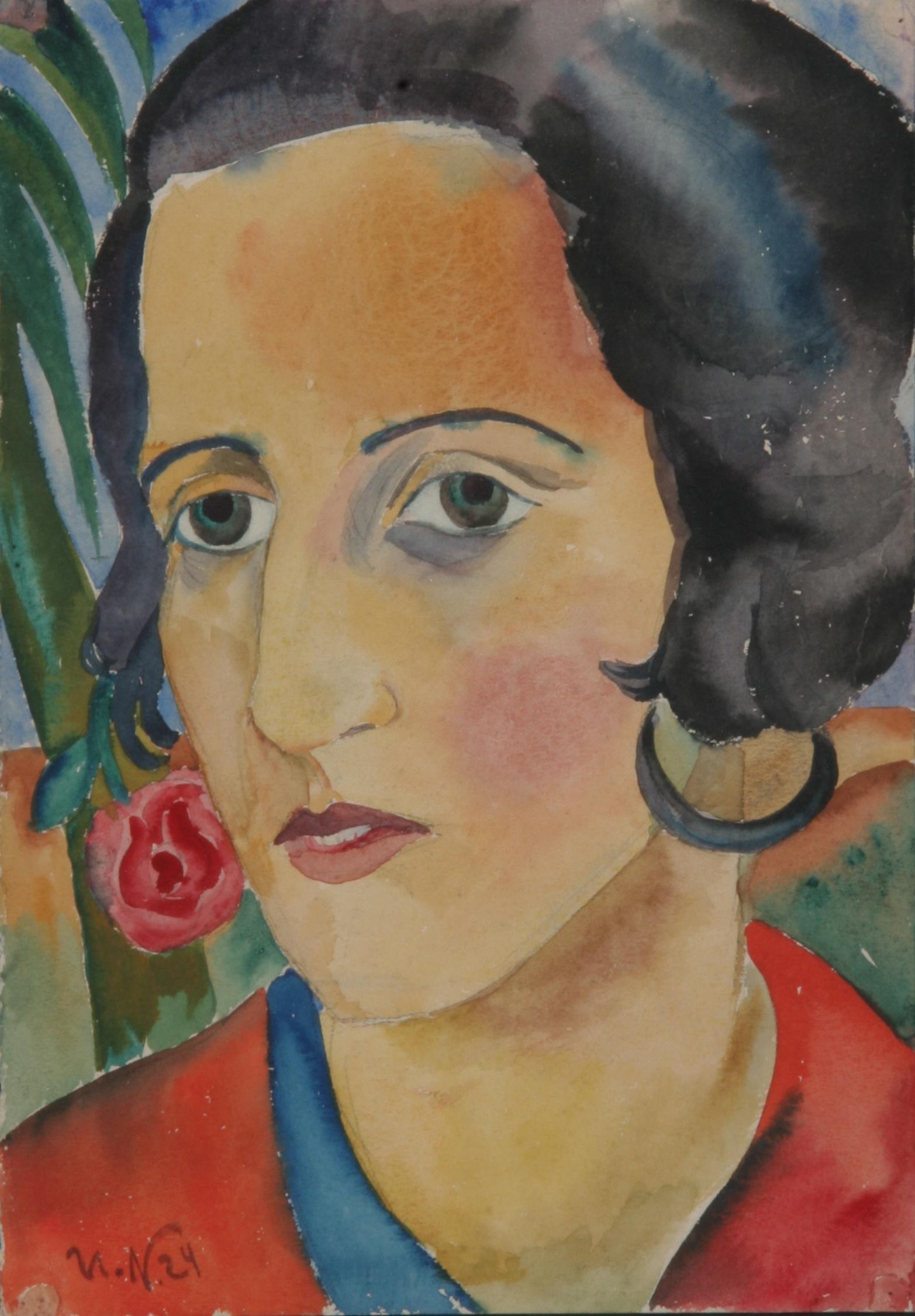 Frauenportrait mit Ohrschmuck, 1924, Aquarell, 25,5 x 38 cm