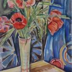 Mohn in Vase vor blauem Tuch, 1931, Aquarell, 48 x 66 cm
