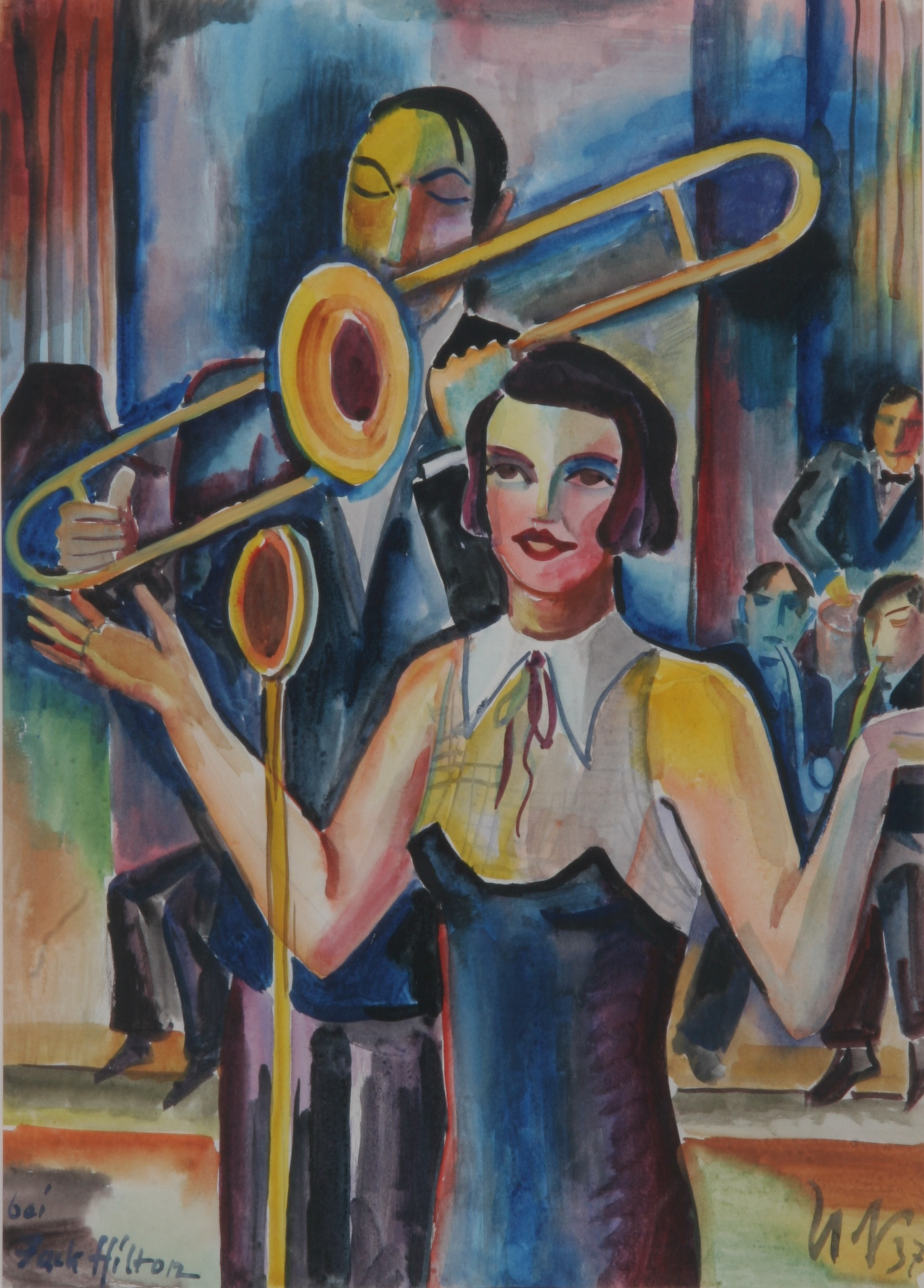 Bei Jack Hilton, 1937, Aquarell, 36,5 x 51 cm