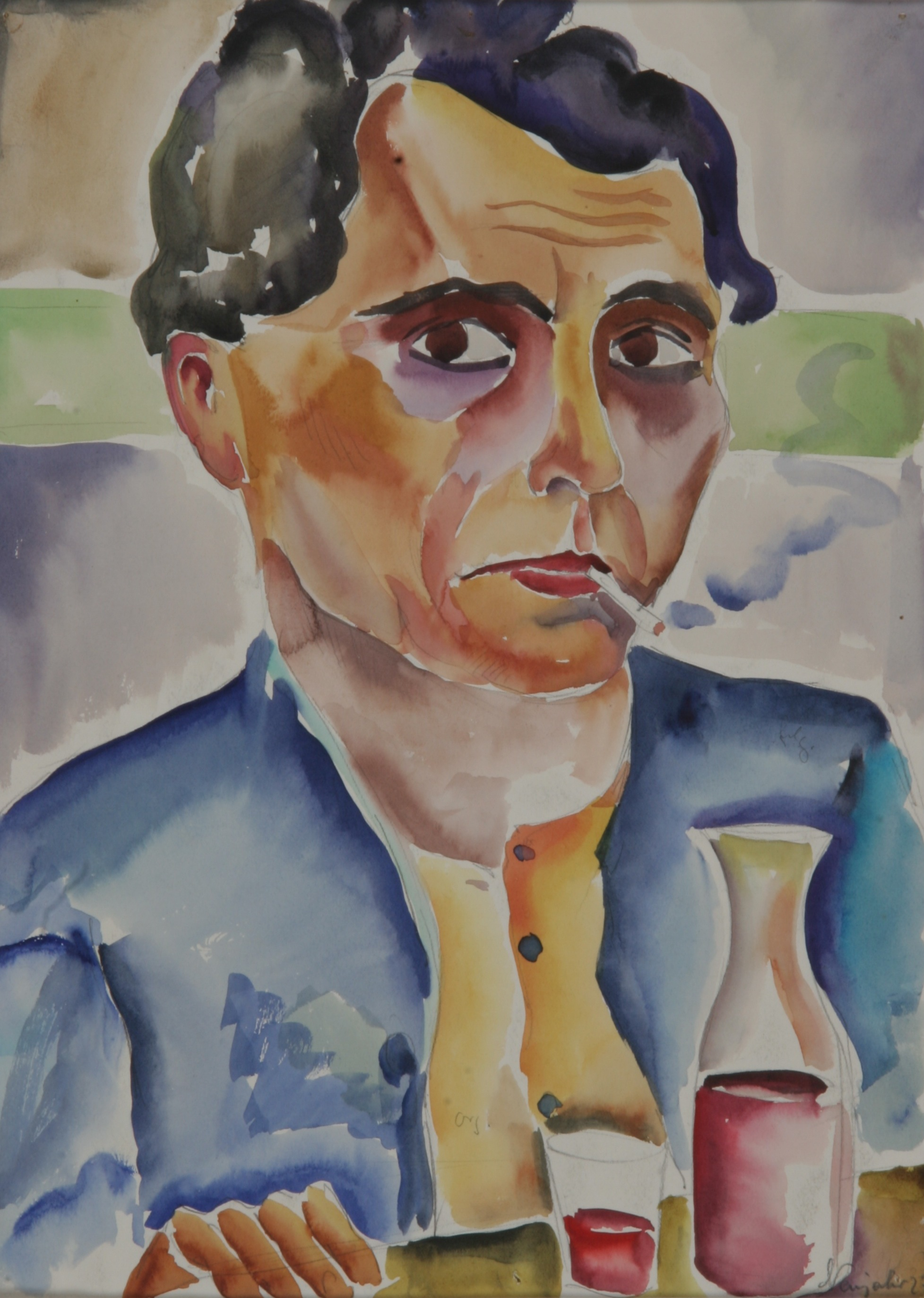 Rauchender in blauer Jacke, 1927, Aquarell, 25 x 35 cm