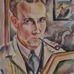 Selbstbildnis beim Malen, 1933, Aquarell, 50 x 65 cm