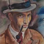 Selbstbildnis mit Hut und Pfeife, 1937, Aquarell, 38 x 55 cm