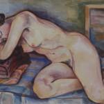 Ruhende Charlotte, 1937, Aquarell, 66 x 48 cm